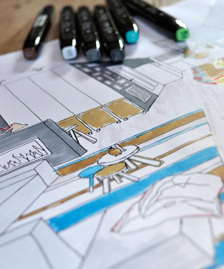 Sfeerbeeld presentatieschets met design markers | ontwerp TOET eigenzinnig wonen