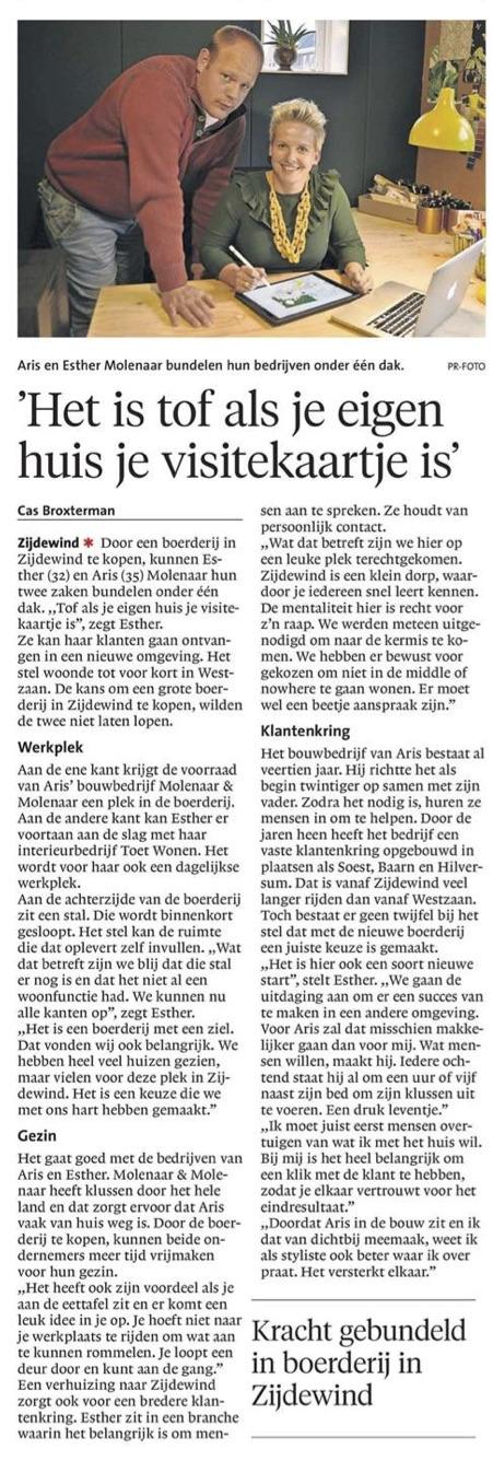 NoordHollands Dagblad Schager Courant 20 september 2017 'TOET wonen en Molenaar & Molenaar' | auteur: Cas Broxterman