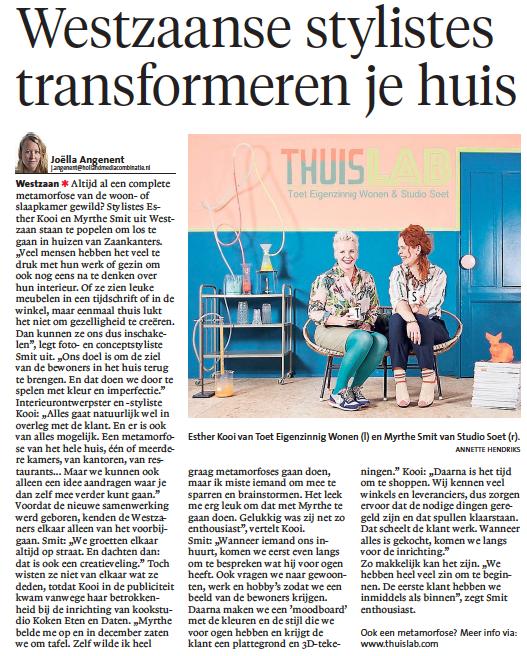 NoordHollands Dagblad Zaanstreek 11 maart 2016 'thuisLAB' | auteur: Joëlla Angenent